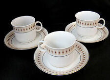 Liling China Fine Porcelain 3 Demitasse Coffee Cups & Saucers Diamond Pattern