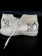 RIPNDIP High Top Shoes sneakers Size 6 White Cat Flipping off, middle finger