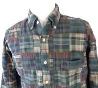 J Crew Large Shirt Wild Plaid Patchwork Design Button Up Multi Color Long Sleeve