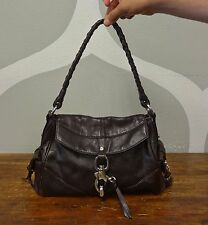 FRANCESCO BIASIA Dark Brown Leather Silver Toggle Foldover Shoulder Bag