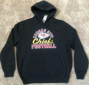 KC Kansas City Chiefs NFL Majestic Black Pullover Hoodie Mens Sz LARGE NEW NWT