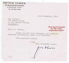 VIC OLIVER Actor and Radio Comedian Musical and Variety  HAND SIGNED Letter 1944