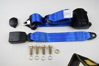 Blue Universal 3 Point Inertia Seatbelt with webbing buckle - Car, Van, Coach
