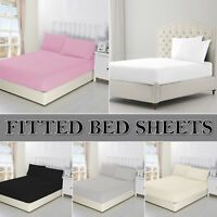 Extra Deep Fitted Sheet Bed Sheets Single Double King Size 100% Poly Cotton 40cm