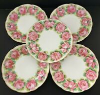 "Vintage Bailey Banks and Biddle Hand Painted Rose 9.75"" Dinner Plates Set of 5"