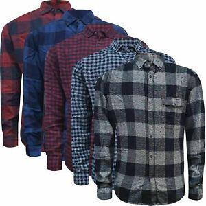 Men's 100% Cotton Long Sleeve Flannel Check Lumberjack Shirt