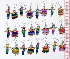 Lot 12 Pairs Peruvian Dolls Ethnic Tribal Earrings Handmade Artisan Jewelry Peru