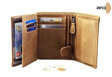 DiLoro Italy Vegetable Tanned Trifold Leather Wallet Vertical Slots Coin Pocket