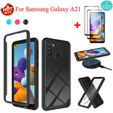 For Samsung Galaxy A21 Hybrid Bumper Rugged Crystal Case Cover+Screen Protector