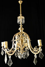 Antique french bronze Glass chandelier Solid chiseled polished bronzes (1325)