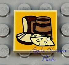 NEW Lego CHEESE & BREAD 2x2 Printed TAN INVERTED TILE Pirate/Castle Minifig Food