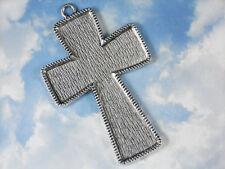 "4"" Flared Cross Bezel Blank Setting Tray Pendant Silver Tone #P054"
