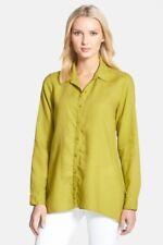 Eileen Fisher Petite Medium Lime Green Boxy Irish Linen Button Down