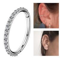 16G Helix Earrings Hoop CZ Stainless Steel Tragus Conch Piercings Nose Rings