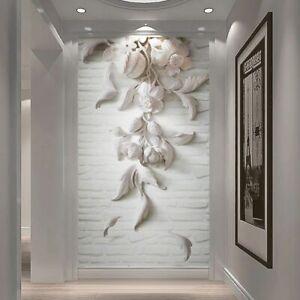 Custom Murals Embossed White Flower Photo Wallpapers Living Room Hotel Entrance