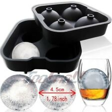 New Round Ice Balls Maker Tray FOUR Large Sphere Molds Cube Whiskey Cocktails