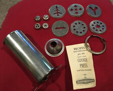 Vintage Woolworth Cookie Press Kit and Cake Decorator Attachments Recipe Book