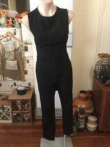 ASOS solid Black Jumpsuit/playsuits Waist Tie Back Zip Straight Leg Size UK 4