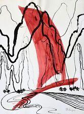 Large Abstract Watercolor Painting Sailboat PA Artist