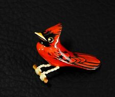 Takahashi Vintage Carved Wood Hand Painted Bird Pin Brooch Red Cardinal Copper