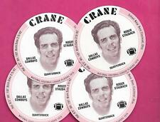 4 X RARE 1976 CRANE POTATO CHIPS ROGER STAUBACH FOOTBALL DISK MINT (INV# C3532)