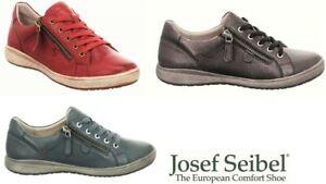 Josef Seibel Leather comfort walking shoes lace up sneakers with zip Caren 12