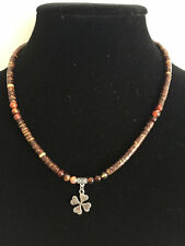 Unisex Exotic Painted Wood Red Agate Beads Necklace with Silver Plated Clover