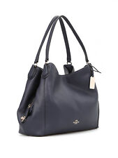 NWT Coach Edie Shoulder Bag in Polished Pebble Leather Light Gold Navy F33547