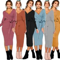 Women Long Sleeve Gown Maxi Sexy Party Canonicals V-Neck Summer Fashion Dress