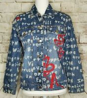 Chicos Size 0 Denim Jean Jacket Button Cancer Awareness Inspirational Words Red