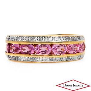 Estate Diamond Pink Sapphire 10K Gold Lovely Cluster Band Ring NR