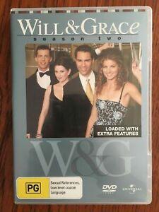 Will & Grace: Season 2 DVD *4 Disc Set *Region 4 *Disc's VGC