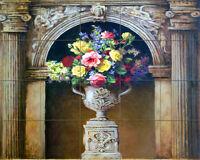 Art Vase Flower Mural Ceramic Backsplash Bath Arch Decor Tile #58