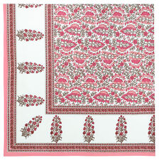 "100% Cotton Block Print Pink & White Floral 60""x60"" Tablecloth - Rosecliff"