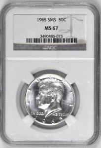 1965 SMS Kennedy Half Dollar : NGC MS67  Blazing White