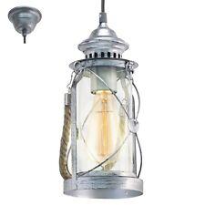 Lampadario vintage lanterna argento vetro trasparente 1 luce GLO 49214 Bradford