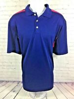 CHAPS Golf XL Mens Polo Style Shirt SS Blue Red 100% Polyester