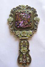 Hand Held Folding Cosmetic MIRROR- Antique Look-Love Heart -Flower- Enamel