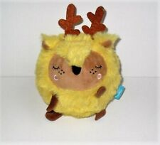 """THE MANHATTAN TOY COMPANY SQUEEZMEEZ YELLOW REINDEER 5"""" INCH PLUSH NEW (NO) TAG"""
