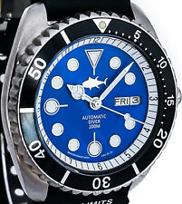 Vintage mens watch CITIZEN auto diver mod w/new BLUE Mother of Pearl TUNA dial !