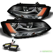 For 11-16 VW Jetta Black Headlights + 6000K Slim Ballast Xenon HID Kit