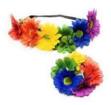 New Rainbow Flower Crown Headband GAY PRIDE Elastic Lesbian LGBT Hair Tye Daisy