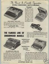 1955 PAPER AD Smith Corona Underwood Portable Typewriter Finger Flite Champion