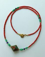 Afghan Natural Coral, Turquoise, Lapis Tiny Beads Necklace Nepalese Pendant