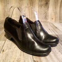 Clarks Womens  80440 Sz 8 Black Leather Slip On Clogs Shoes