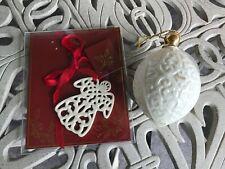 2 Lenox Ornaments ~ 1989 Egg Shape Porcelain Christmas Ball & Lenox Angel Charm