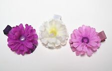 Baby toddler Silk Flower hair clips  2-inch Purple White Handmade 3 piece set
