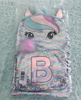 Justice Pastel Unicorn Initial B Flip Sequin Large School Travel Backpack NEW