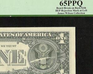 UNC 1977 $1 DOLLAR BILL BOARD BREAK ERROR NOTE WITH BEP REJECTION MARK PCGS 65