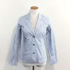 New Denim & Company Gingham Blazer Jacket Stretch Fabric Washable Womens XXS New